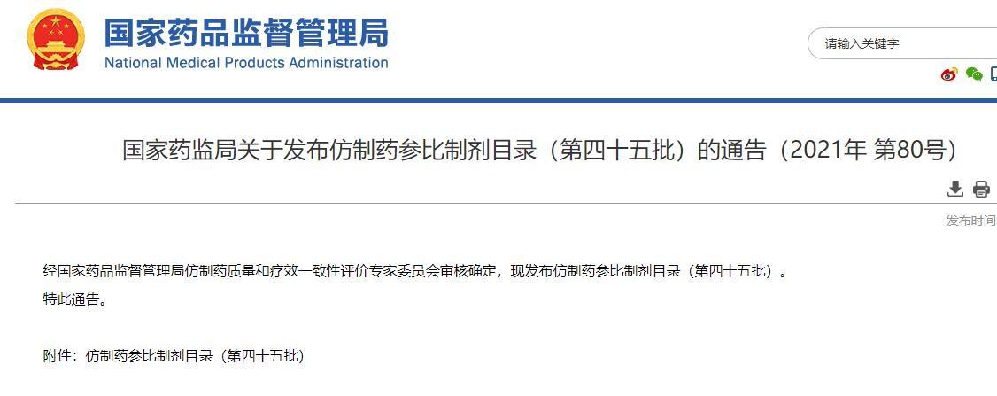 国家药监局:第45批仿制药参比制剂目录发布